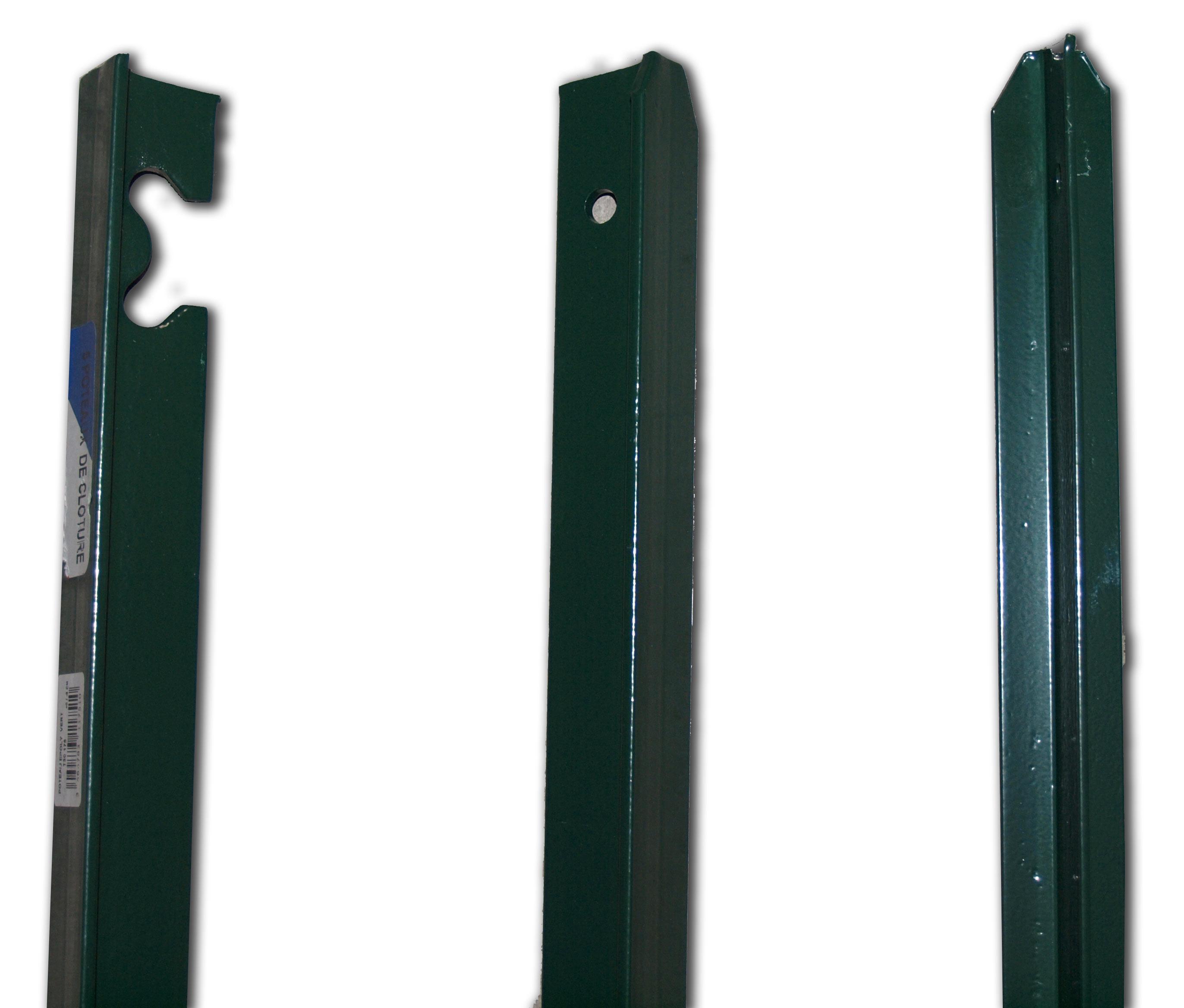 Poteaux t section 25 et 40 rev tement plastifi vert atout clotures b to - Poteaux en t pour grillage ...