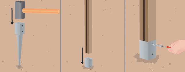 installation de poteaux avec fer dans le sol